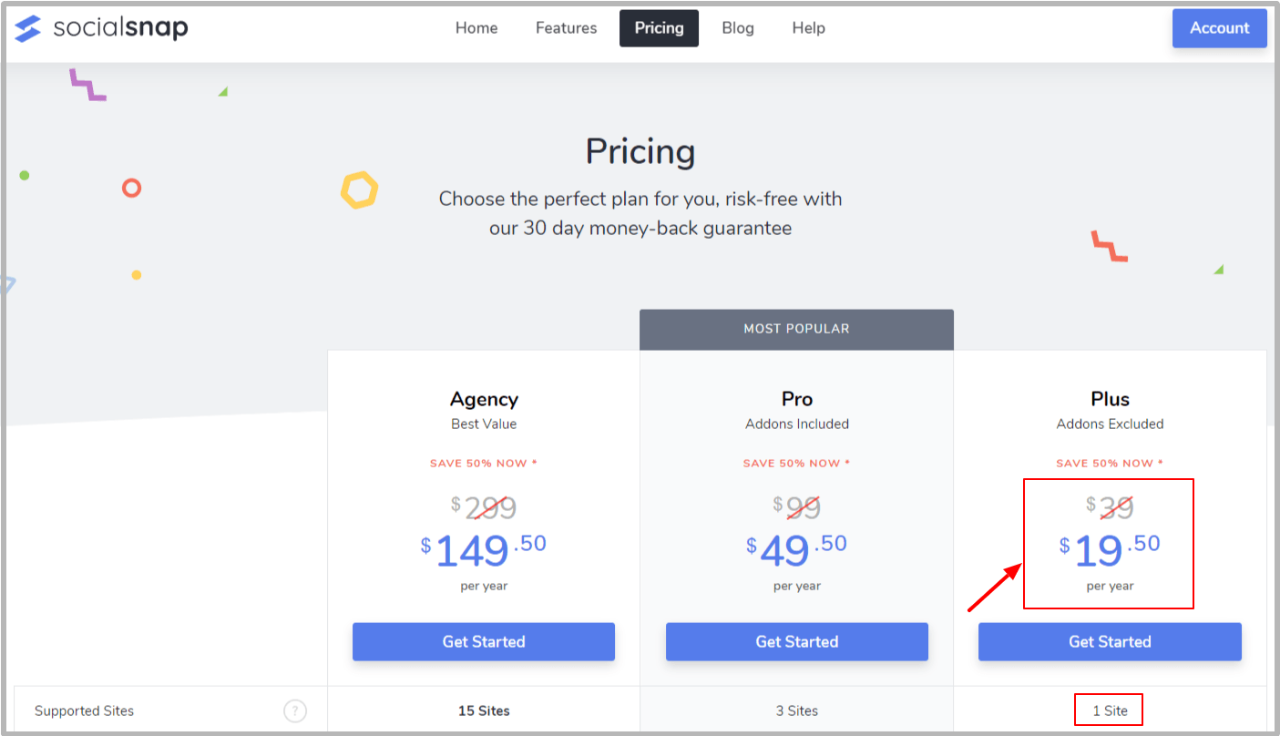 Pricing Plans of SocialSnap plugin