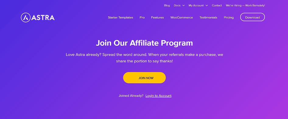 Astra Pro affiliate program