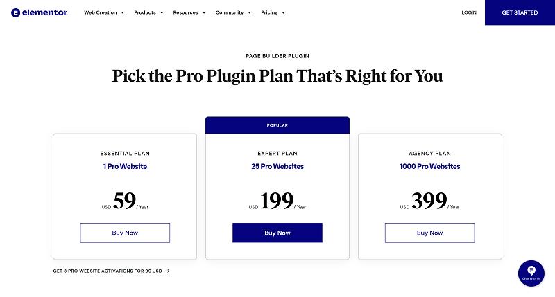 Elementor Page Builder Pricing