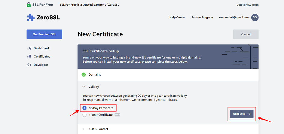 90 Days Free SSL Certificate