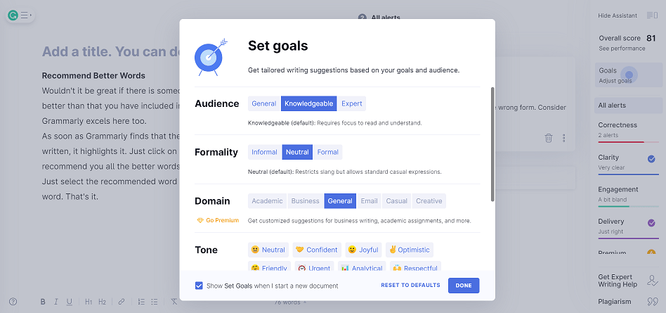 Grammarly - set Goals