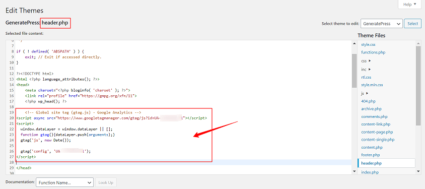 Add Tracking Code in Header File