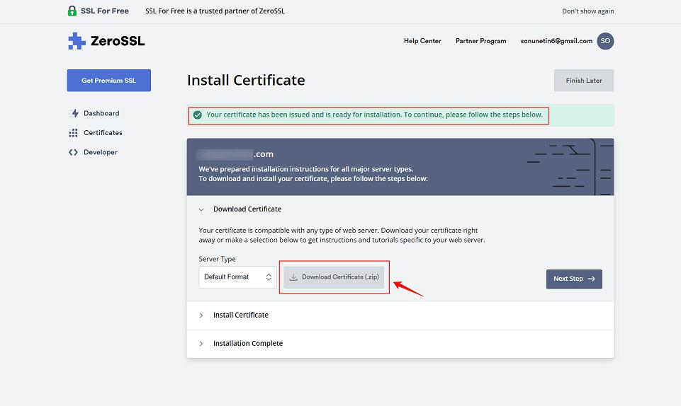Download Free SSL Certificate in Zip File