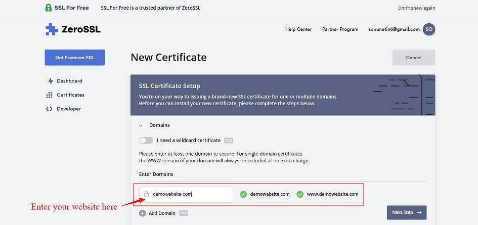 Enter Domain Name Free SSL