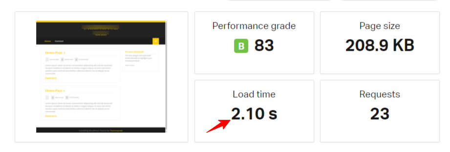 Speed test before GeneratePress theme