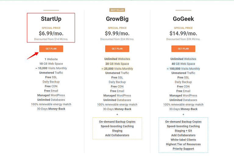 SiteGround Shared Hosting Plans Pricing
