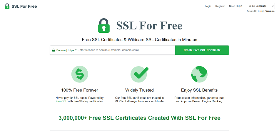SSFFORFREE Free SSL Certificate