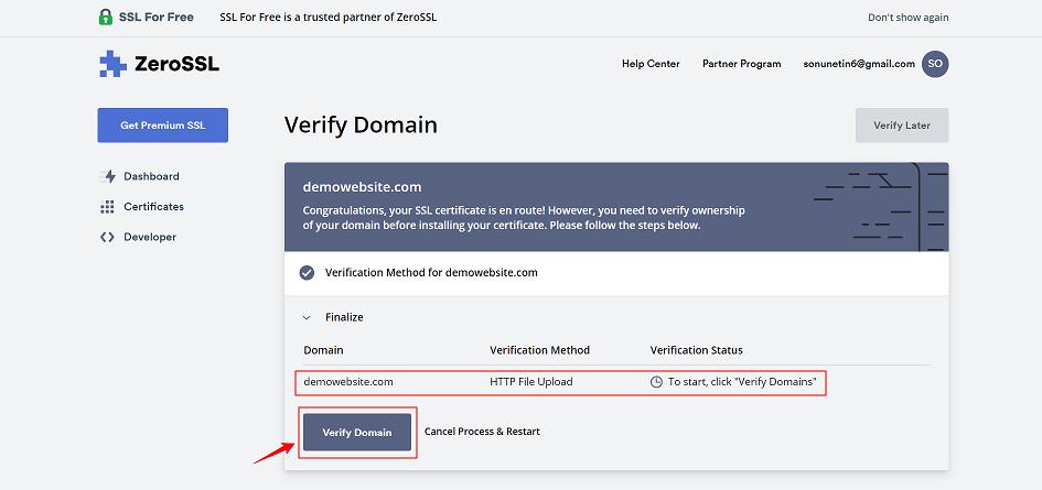 Verify Domain