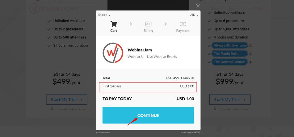 WebinarJam Free Trial Cart
