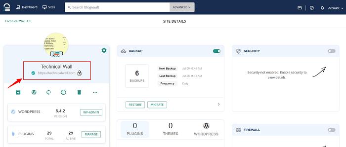 Blog Vault Backup Plugin Dashboard