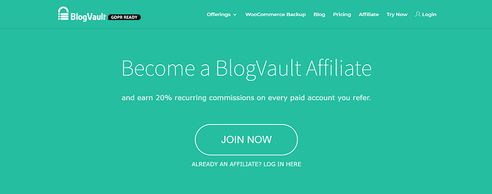 BlogVault Recurring Affiliate Program