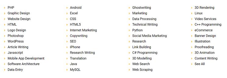 Freelancer Micro Site Categories