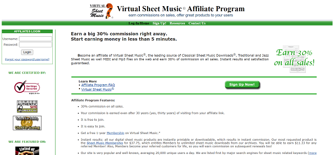 Virtual Sheet Music Affiliate Program