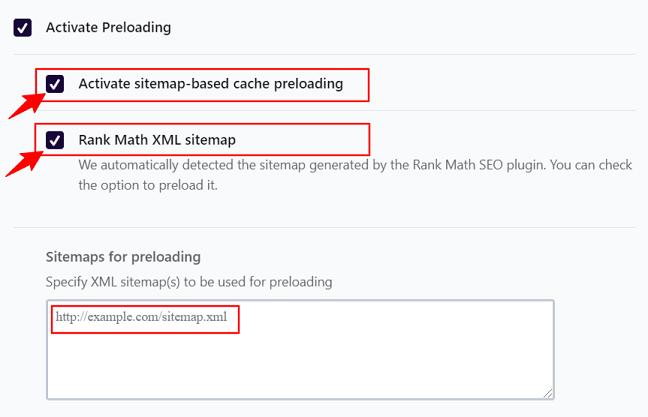 WP Rocket Preloading feature