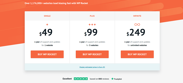 WP Rocket Regular Pricing Plans