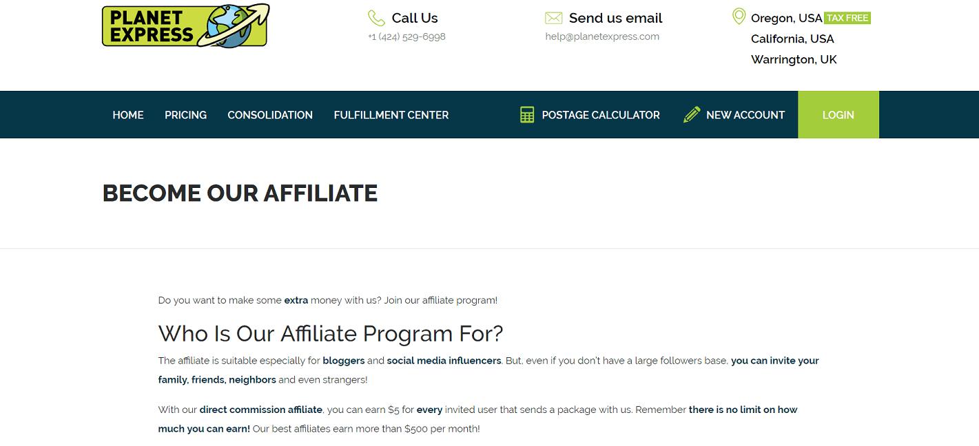 Planet Express Affiliate Program
